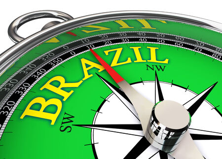 brazil compass in green and yellow.  Stock Photo