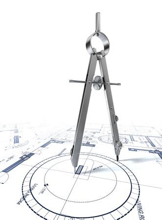 ろ紙の建築計画に関する図面の円をコンパスします。 写真素材