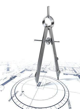 compass drawing circle on architectural plan on parer