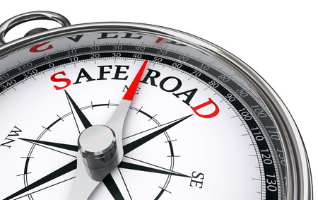 safety slogan: safe road conceptual compass, on white background Stock Photo