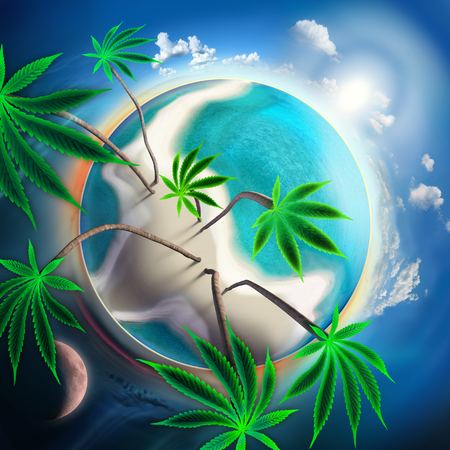 Cannabis conceptual idyllic planet with sunny beach and tall trees photo