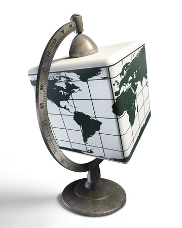 reflection internet: cube desktop metal globe, concept for changing the way of thinking Stock Photo