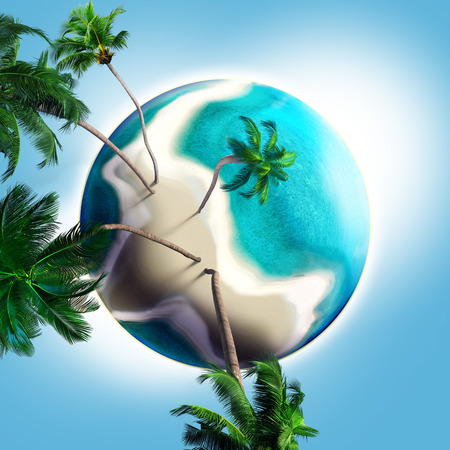 dream planet with coconut trees ,sandy beach and turquoise sea photo
