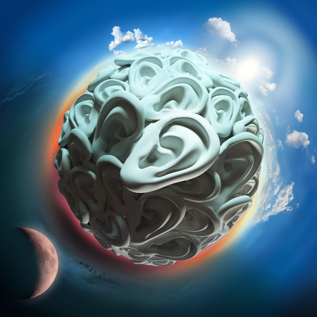 sense of space: ear planet with sun and moon in space, communication conceptual image
