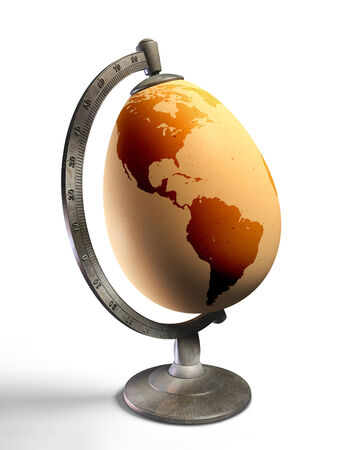 egg earth globe with american continent, conceptual image. clipping path included photo