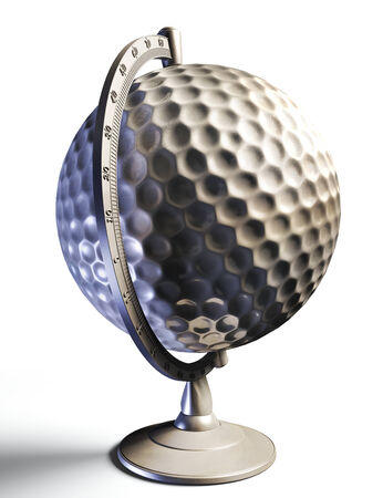 golf ball desktop globe conceptual image. clipping path included photo