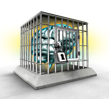 human brain in a cage, lack of free thinking concept