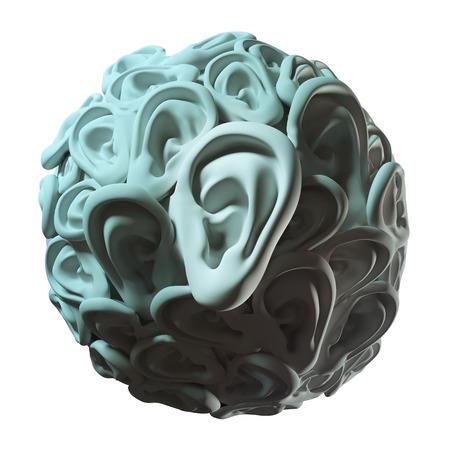 listen ear: human ears in ball shape.listen information conceptual image