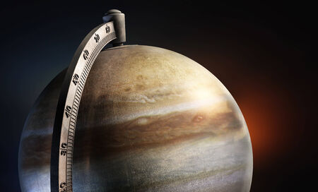 jupiter light: Jupiter desktop globe with metal texture on abstract background.