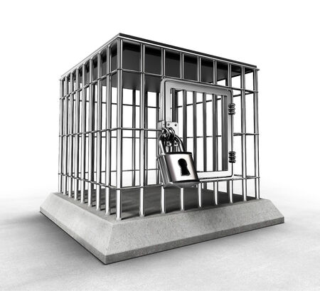 heavy metal: locked prison cage with heavy metal bars. clipping paths included Stock Photo