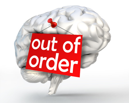 out of order: mental problem out of order red sign on human brain. clipping path included