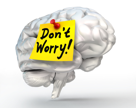losing memory: do not worry note paper on brain conceptual image, clipping path included