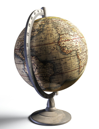 history background: old history map on metal globe on white background