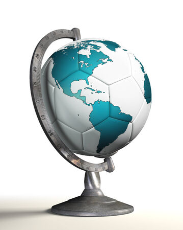 soccer ball desktop globe with american continent. clipping path included photo