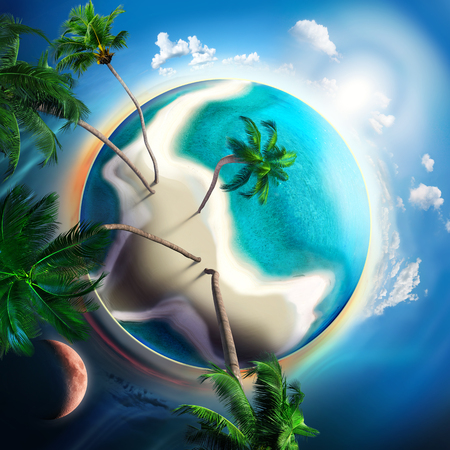 tropical planet with sand island, turquoise and palm trees photo