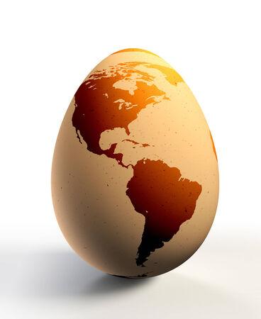 continente americano: continente americano en el huevo de gallina. trazado de recorte incluidos