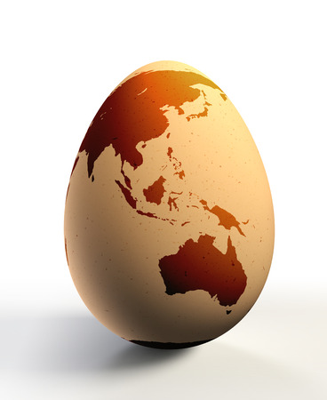 chicken and egg: australia and asia continent on chicken egg . clipping path included Stock Photo