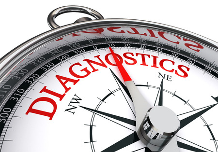 diagnostics: diagnostics red word on conceptual compass isolated on white background