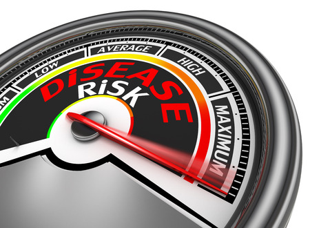 disease risk conceptual meter indicate maximum, isolated on white background photo