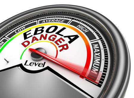 ebola danger conceptual meter indicate maximum, isolated on white background photo