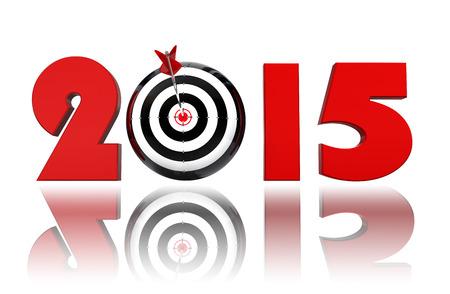 beyaz zemin üzerine yeni yıl 2015 gol hedefi Stock Photo