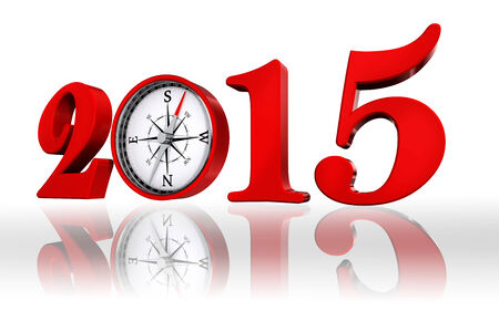 new year 2015 number with compass, on white background photo