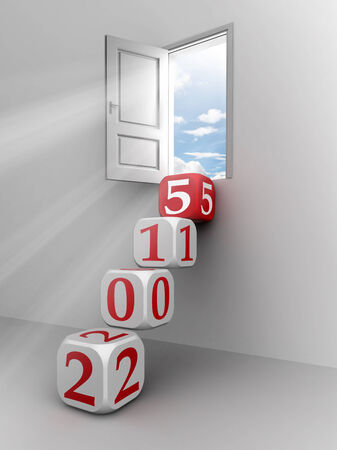 new year 2015 conceptual door with red and white dice steps photo