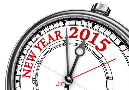 fin de ao: nuevo cambio a�o 2015 el concepto de reloj aislado en el fondo blanco