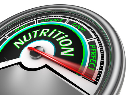 nutrition conceptual meter indicate perfect, isolated on white background
