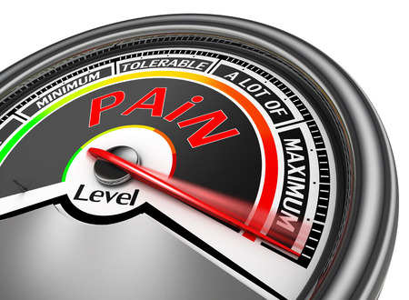 crisis management: pain level conceptual meter indicate maximum, isolated on white background