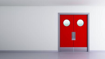 door swings: red double door interior view of a room Stock Photo