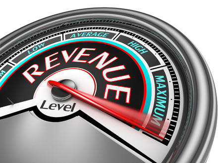 revenues: revenue level conceptual meter indicate maximum, isolated on white background