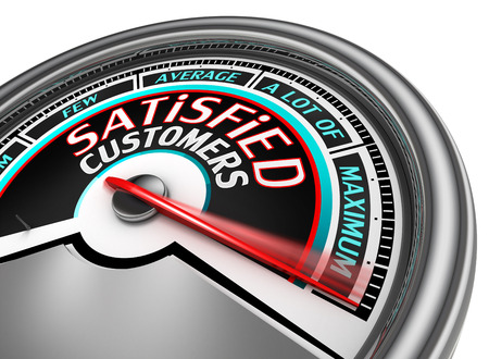 satisfied customers conceptual meter indicate maximum, isolated on white background Stockfoto