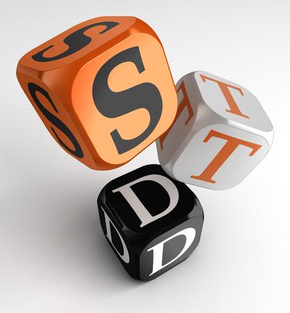 educacion sexual: ETS (enfermedades de transmisión sexual) letrero en naranja, blanco y negro cubos caja. trazado de recorte incluidos