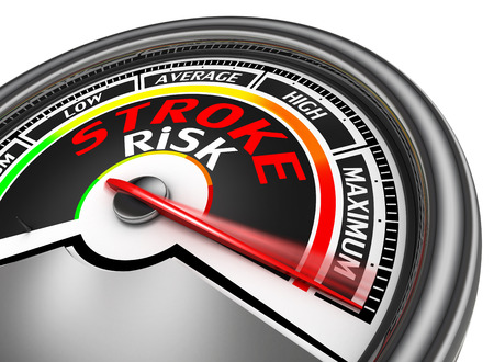 stroke risk conceptual meter indicate maximum, isolated on white background