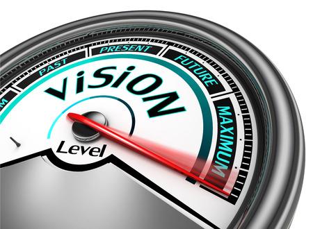 vision futuro: visión metros conceptual indican máximo, aislado en fondo blanco Foto de archivo