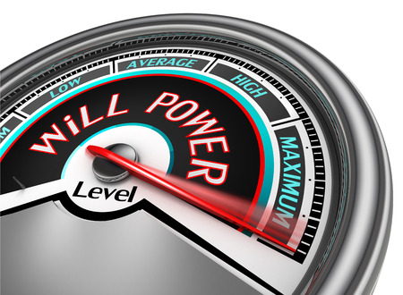 will power: will power conceptual meter indicate maximum, isolated on white background