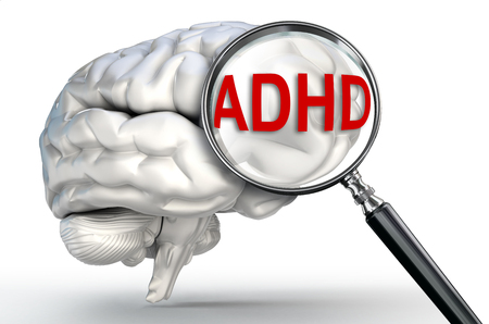 hyperactivity: ADHD word Attention Deficit Hyperactivity Disorder on magnifying glass and human brain on white background