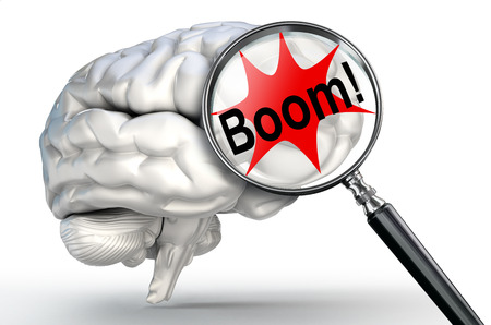 boom explosion on magnifying glass and human brain on white background photo