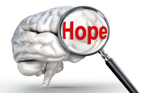 mental object: palabra de la esperanza en la lupa y el cerebro humano en el fondo blanco Foto de archivo