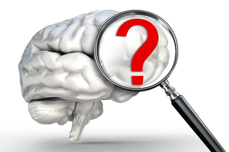 questionmark on magnifying glass and human brain on white background photo