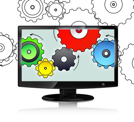 Computer monitor and colour cog wheels concept on white background photo