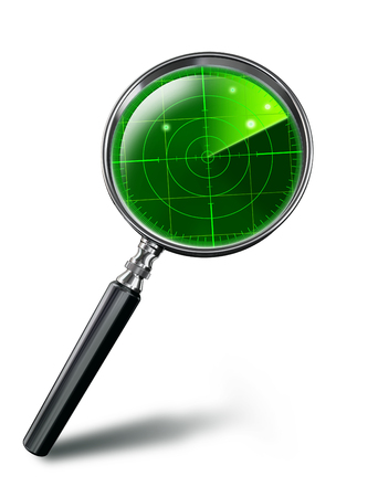 green radar concept on magnifying glass on white background. clipping path included