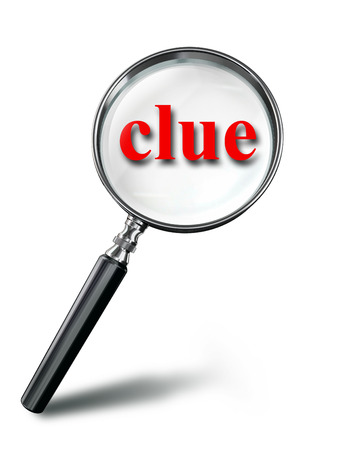 clue: clue red word mystery concept with magnifying glass on white background. clipping path included