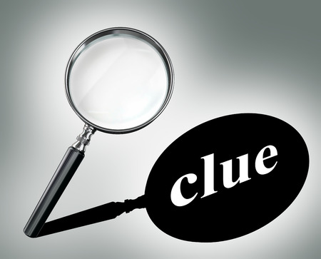 clue word mystery concept with magnifying glass and shadow Stockfoto