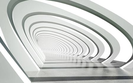 Futuristic exterior pathway structure under modern arcs architecture background. clipping path included