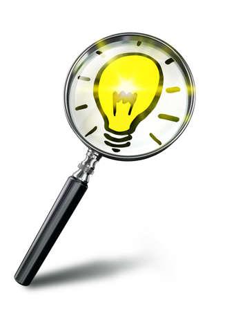 Idee Lampensymbol Konzept Mit Lupe Auf Weißem Hintergrund. Clipping ...