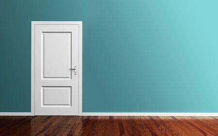 room door: Interior room with white door,wood floor and blue wall 3d render Stock Photo