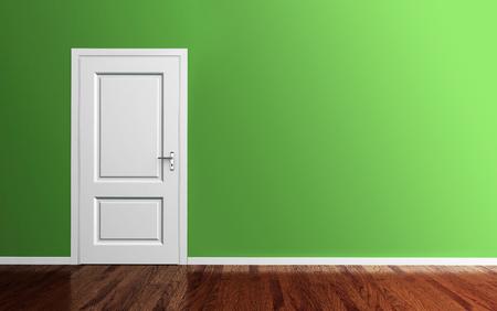 白いドアと木製の床の 3 d レンダリング インテリア グリーン ルーム