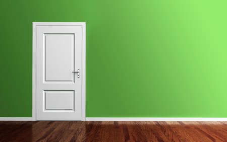 Interior green room with white door and wood floor 3d render